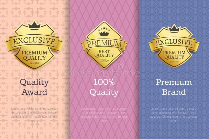 Sistema de 100 de la calidad del premio de la marca superior etiquetas del oro ilustración del vector