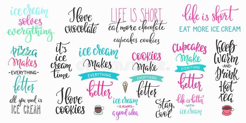 Sistema de la caligrafía de la tipografía de las letras de la bebida de la comida ilustración del vector