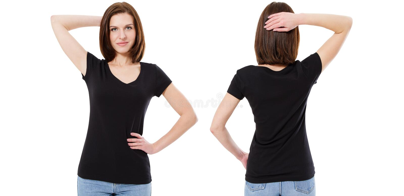 Sistema de la camiseta, morenita linda en la camiseta negra elegante aislada en el fondo blanco, falso para arriba, espacio en bl imagen de archivo libre de regalías