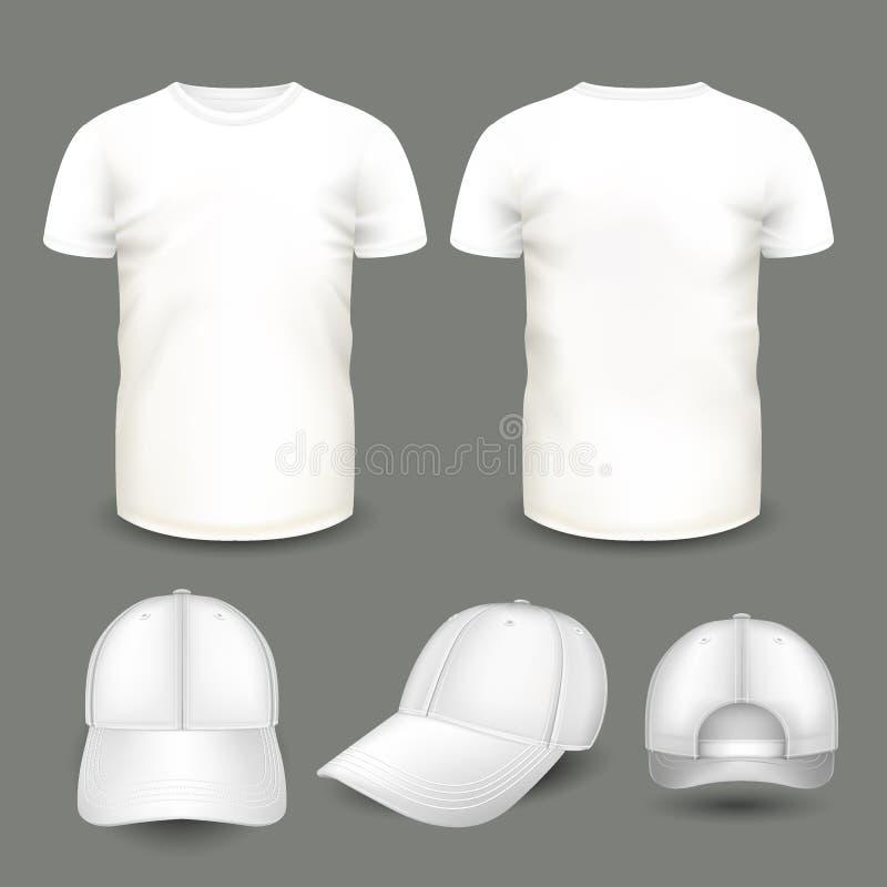 Sistema de la camiseta y del casquillo blancos del ` s de los hombres en frente y visiones traseras Plantilla volumétrica del vec stock de ilustración