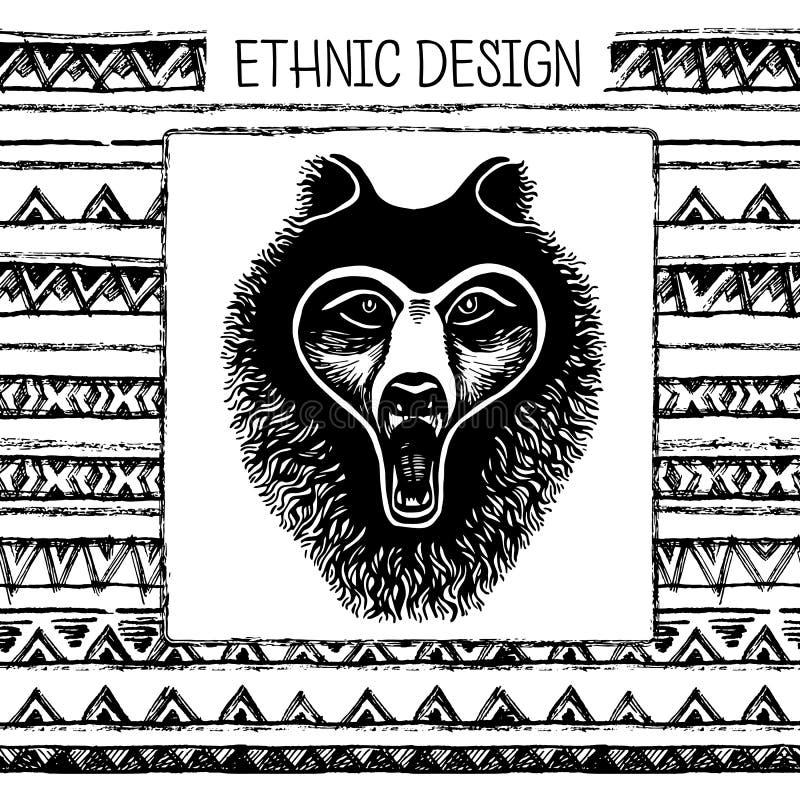 Sistema de la cara blanco y negro del oso de la tinta de dibujo de la mano, pata, huella de un animal Colores blancos y negros libre illustration