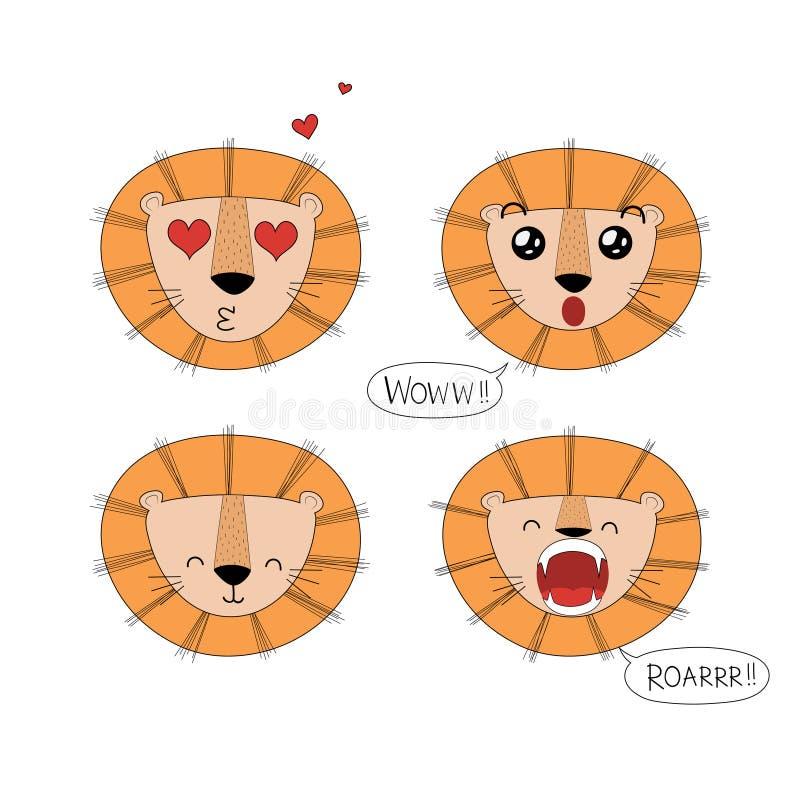 Sistema de la cara linda de los leones libre illustration