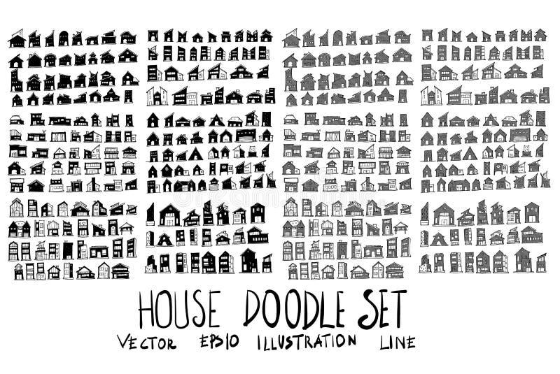 Sistema de la casa de la colección del dibujo del garabato del vector en el backgroun blanco ilustración del vector