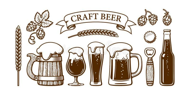 Sistema de la cerveza del vintage Taza de madera vieja, vidrios, abrelatas, cebada, trigo, salto, cápsula Cervecería, festival de ilustración del vector