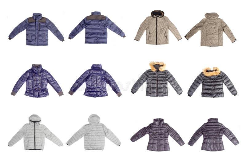 Sistema de la chaqueta del invierno aislado en el fondo blanco imagenes de archivo