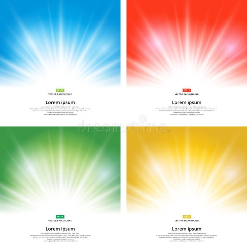 Sistema de la chispa del efecto de la luz del sol en fondo amarillo con el SP de la copia stock de ilustración