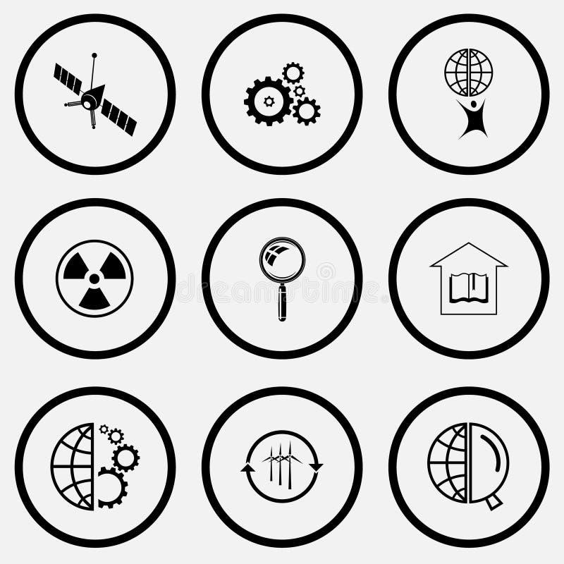 Sistema de la ciencia Iconos blancos y negros del sistema libre illustration
