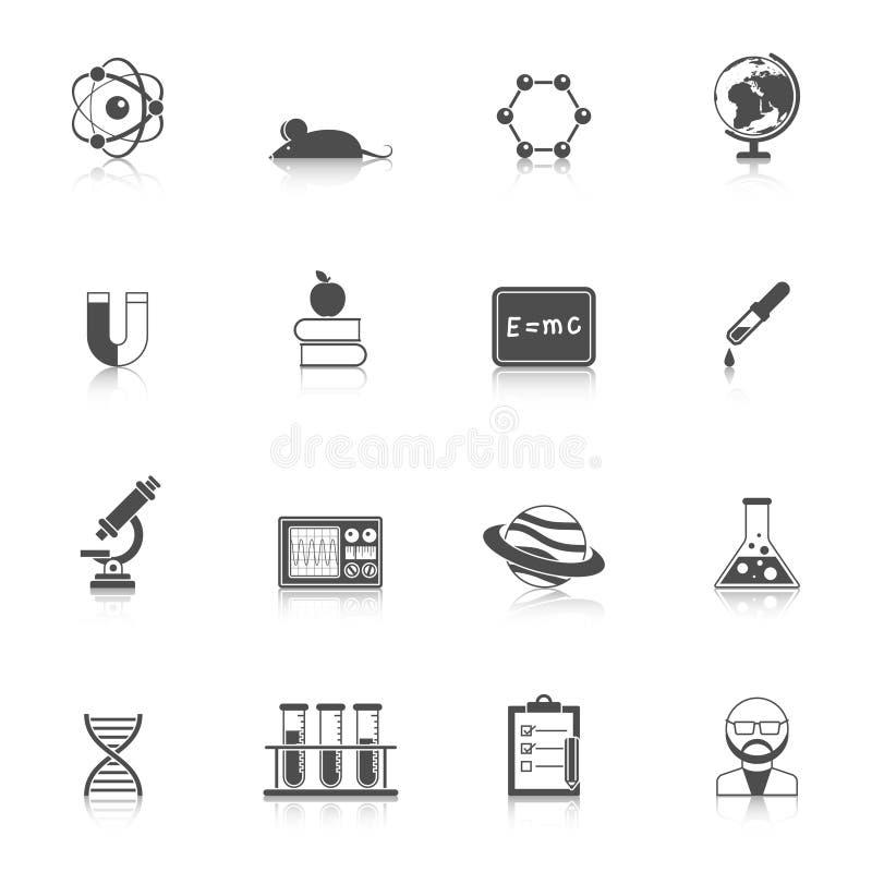 Sistema de la ciencia y del icono de la beca ilustración del vector