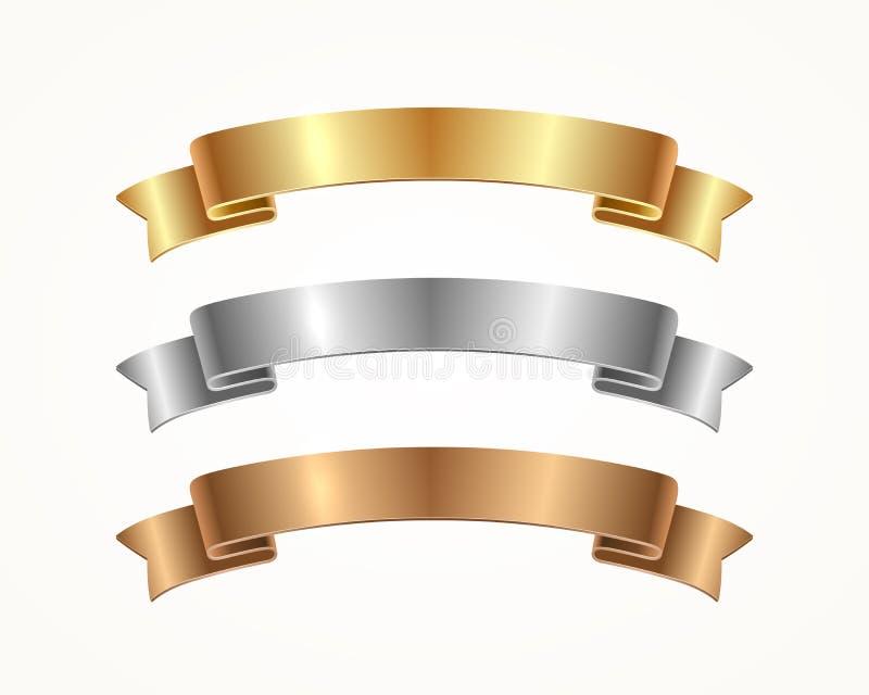 Sistema de la cinta de la bandera - oro, plata, bronce libre illustration