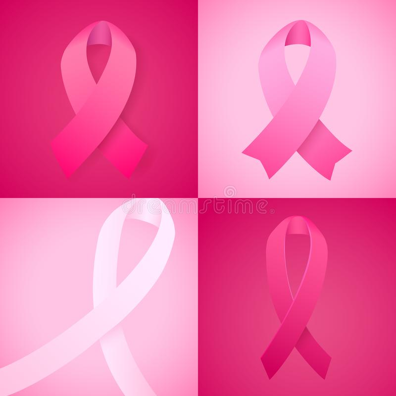 Sistema de la cinta de la conciencia del cáncer de pecho Plantilla del vector con el símbolo de la lucha del cáncer Octubre es me stock de ilustración