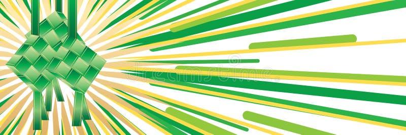 Sistema de la cinta del verde de Ketupat stock de ilustración