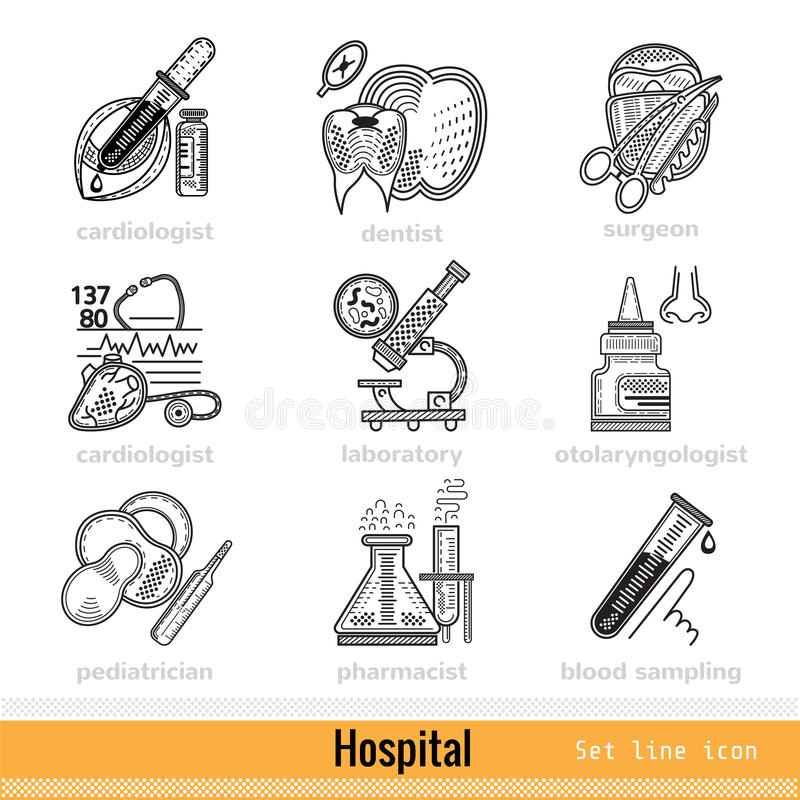Sistema de la clase de los doctores Outline Web Icons stock de ilustración