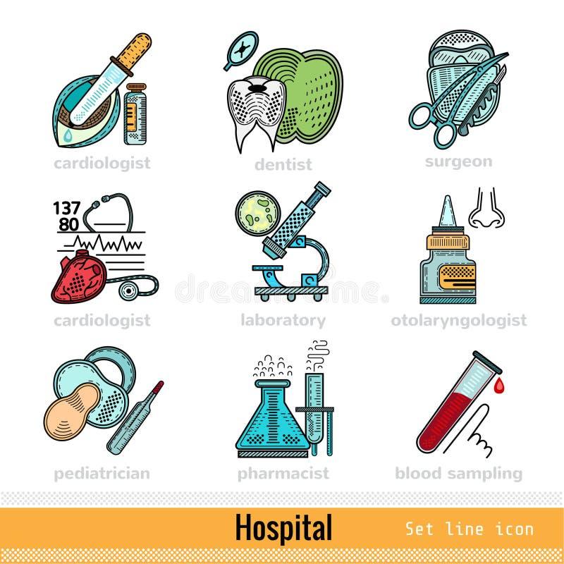 Sistema de la clase del color de los doctores Outline Web Icons stock de ilustración