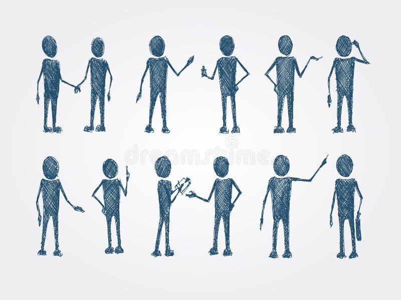Sistema de la colaboración del garabato de hombres de negocios