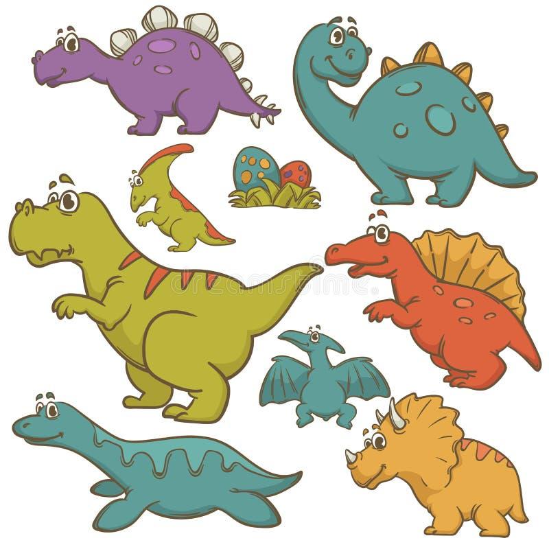 Sistema de la colección de la historieta del dinosaurio libre illustration