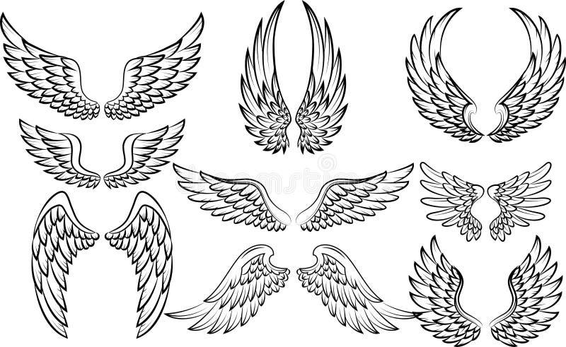 Sistema de la colección de las alas de la historieta ilustración del vector