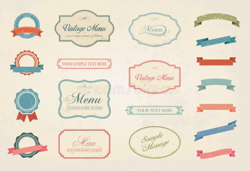 Sistema de la colección de los elementos del diseño del vector de las etiquetas del vintage stock de ilustración