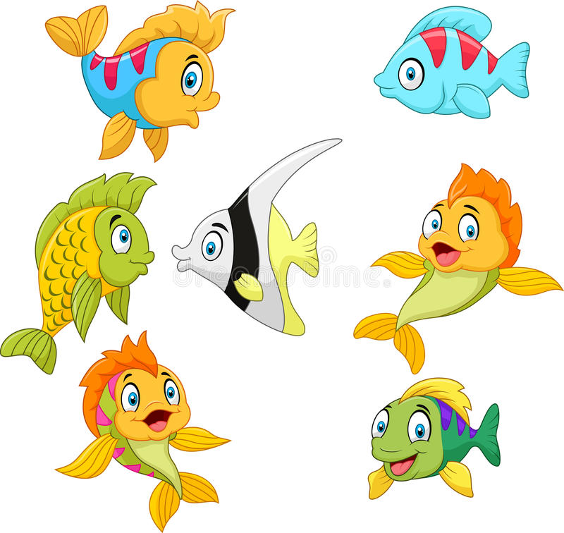 Sistema de la colección de los pescados de la historieta aislado en el fondo blanco libre illustration