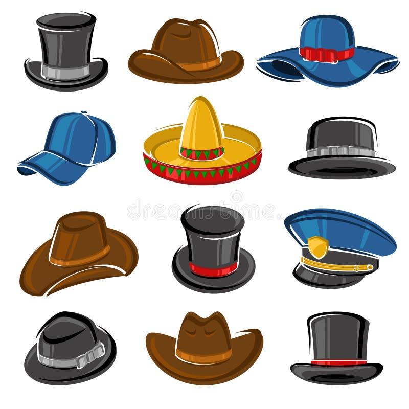 Sistema de la colección de los sombreros Vector stock de ilustración