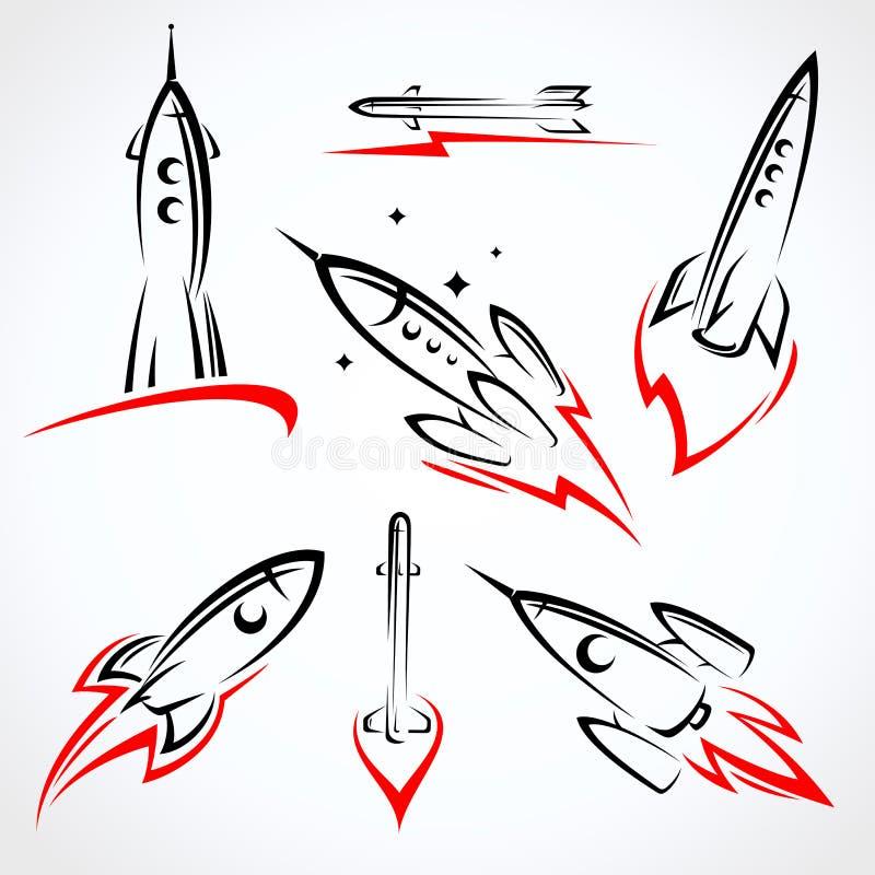 Sistema de la colección de Rockets Vector ilustración del vector