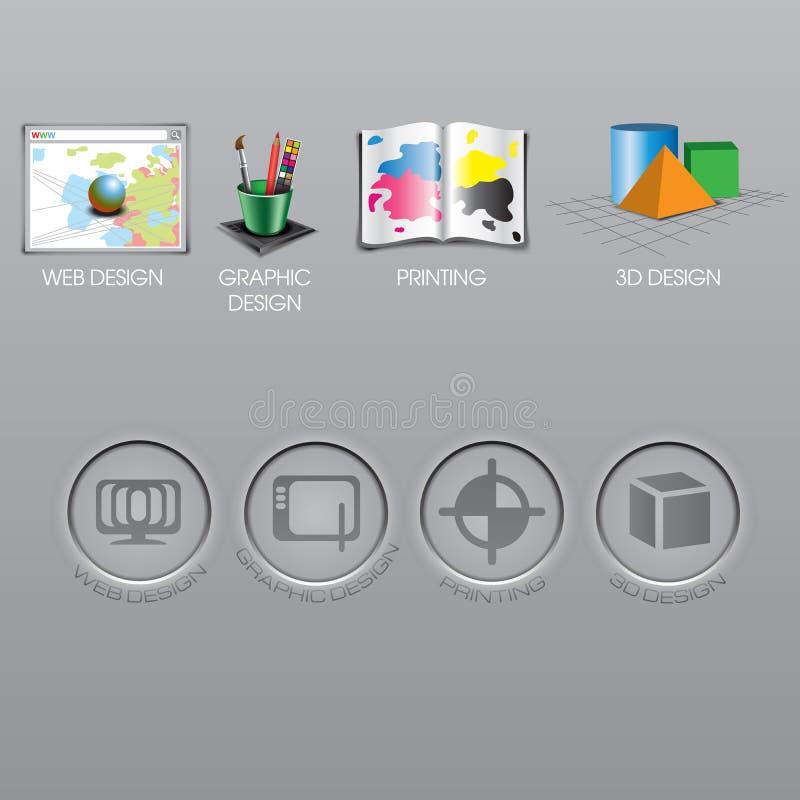 Sistema de la colección del diseño web, del diseño gráfico, de la impresión y de los iconos 3d stock de ilustración