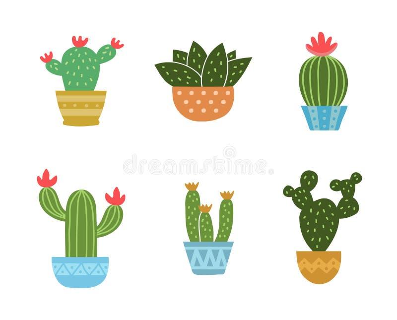 Sistema de la colección del icono del cactus Vector stock de ilustración