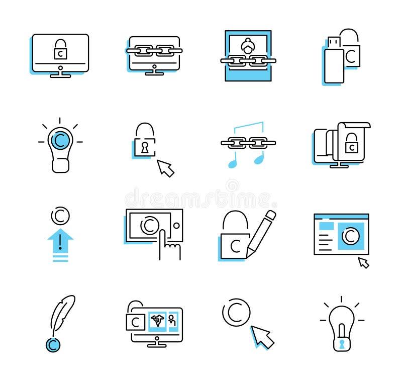 Sistema de la colección del icono del esquema de los derechos reservados de Digitaces Ejemplo del vector de la seguridad stock de ilustración