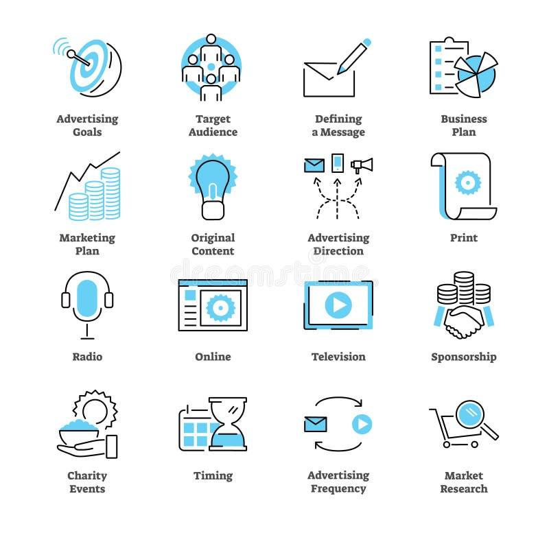 Sistema de la colección del icono del plan de la publicidad Ejemplo comercial del vector ilustración del vector