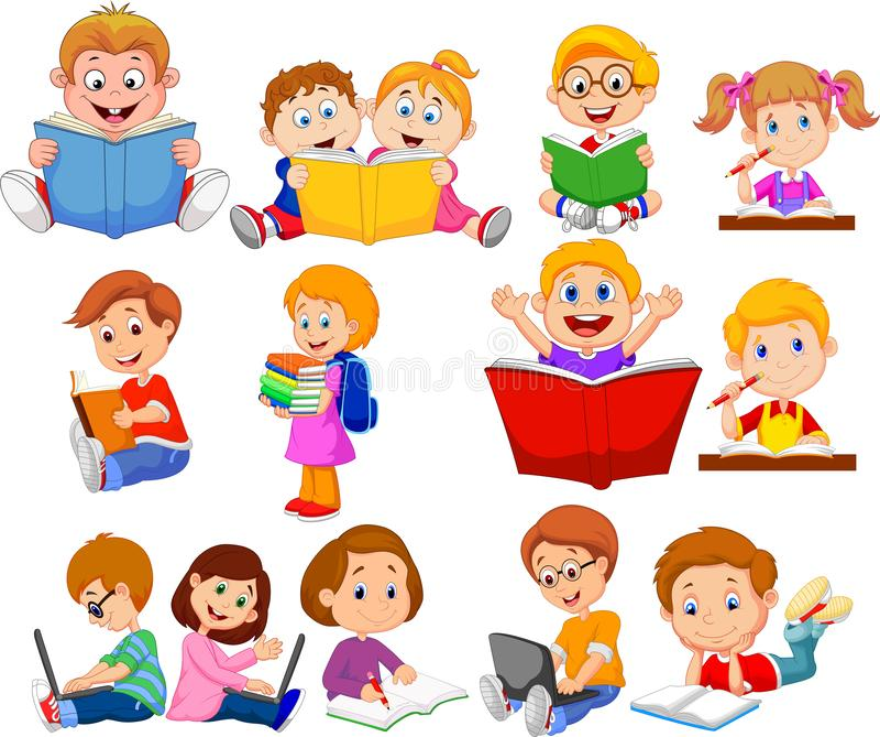 Sistema de la colección del libro de lectura de los alumnos de la historieta y del ordenador de funcionamiento stock de ilustración