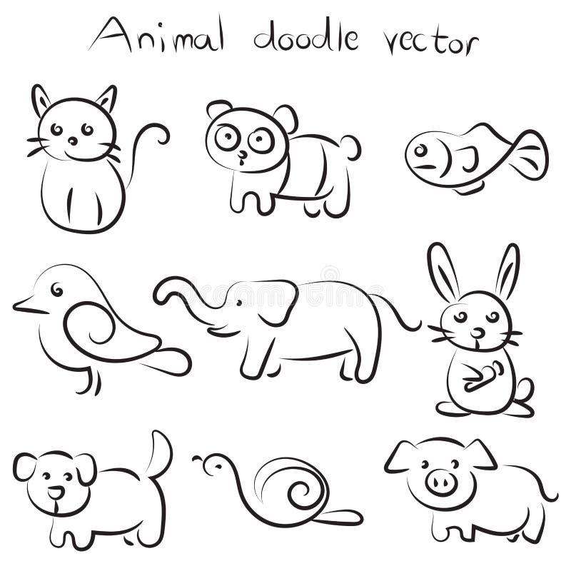 Sistema de la colección del vector animal lindo del garabato libre illustration