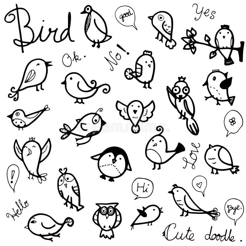 Sistema de la colección del vector de pájaros lindos que dibujan en garabato negro del esquema en el fondo blanco libre illustration