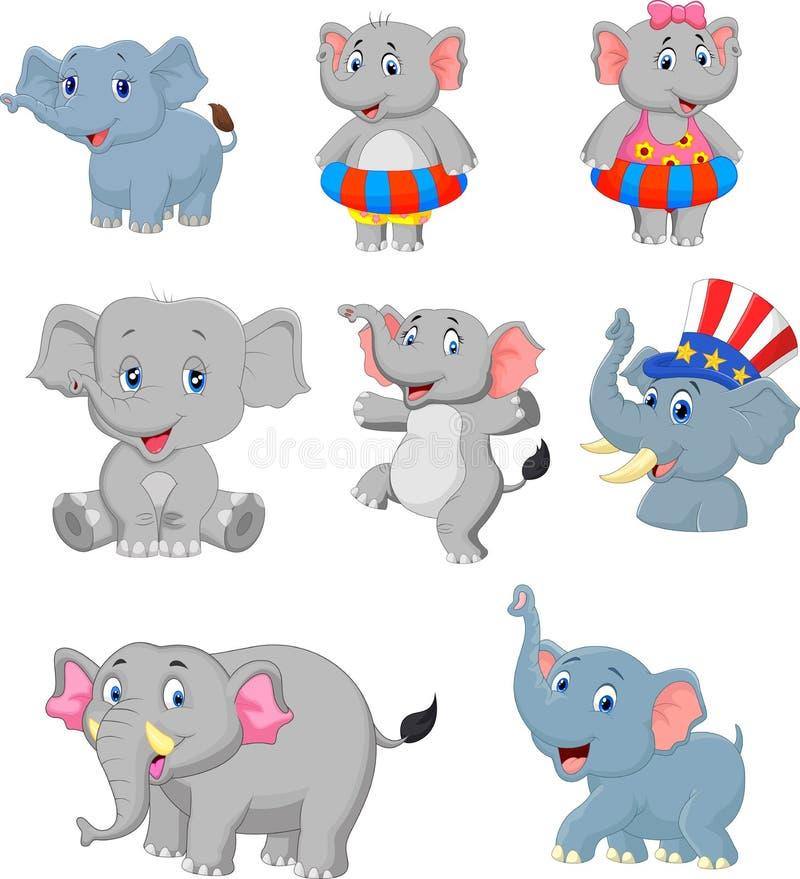 Sistema de la colección de los elefantes de la historieta stock de ilustración