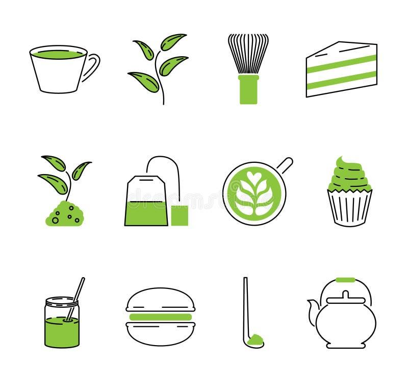 Sistema de la colección de los iconos del esquema del vector del té de Matcha Bebida tradicional de Japón ilustración del vector