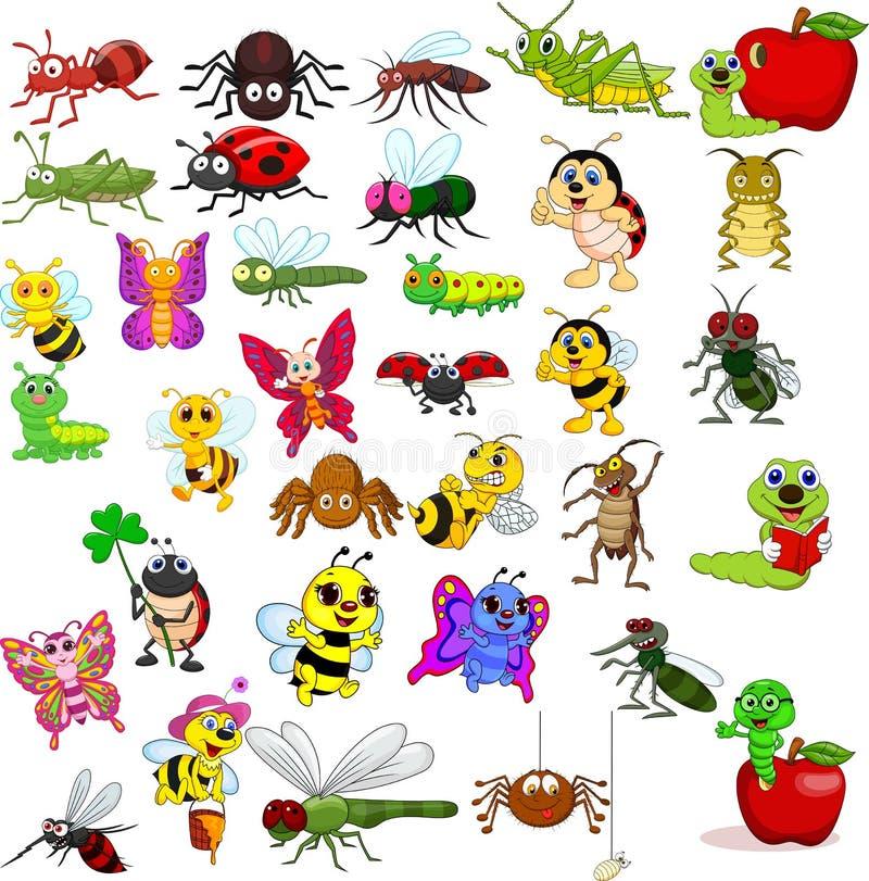 Sistema de la colección de los insectos de la historieta ilustración del vector