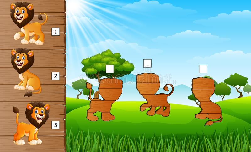 Sistema de la colección de los leones de la historieta Encuentre la sombra correcta a bordo Juego educativo para los niños ilustración del vector