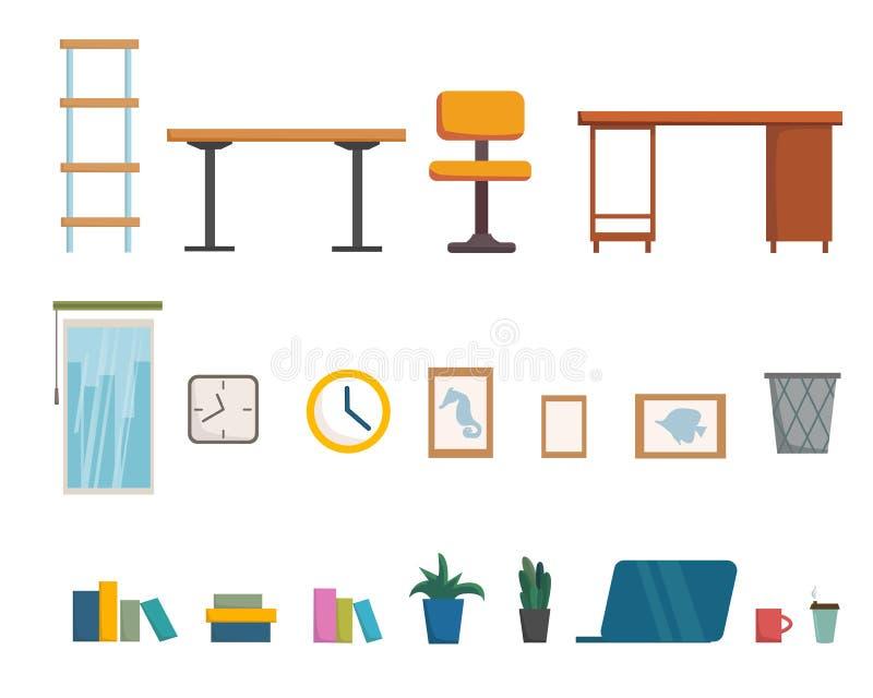SISTEMA de la colección de los objetos de los muebles de oficinas y del interior, diseño del sitio, montante plano de la historie stock de ilustración