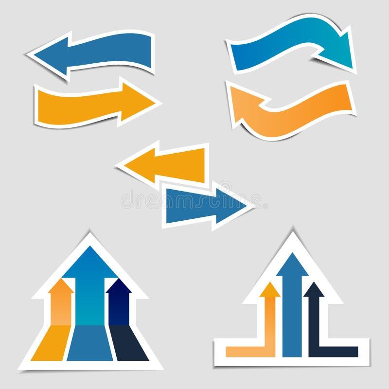 Sistema de la colección de negro con el bannersselection de las cintas del oro de las etiquetas engomadas coloridas de la flecha  libre illustration
