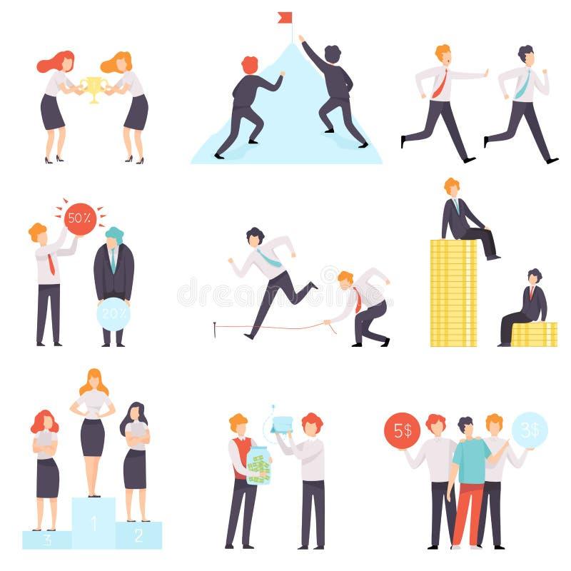 Sistema de la competencia del negocio, hombres de negocios que compiten entre ellos mismos, oficinistas que desaf?an el ejemplo d libre illustration