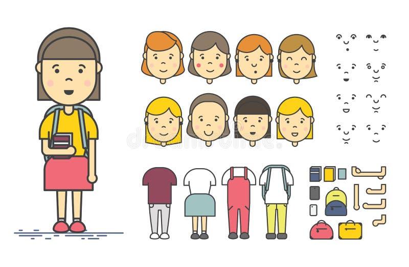 Sistema de la creación del carácter de la muchacha stock de ilustración