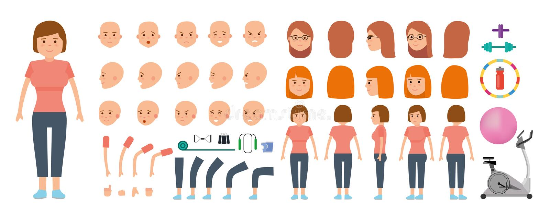 Sistema de la creación del carácter de la mujer Deportista y equipo de deportes para la aptitud ilustración del vector