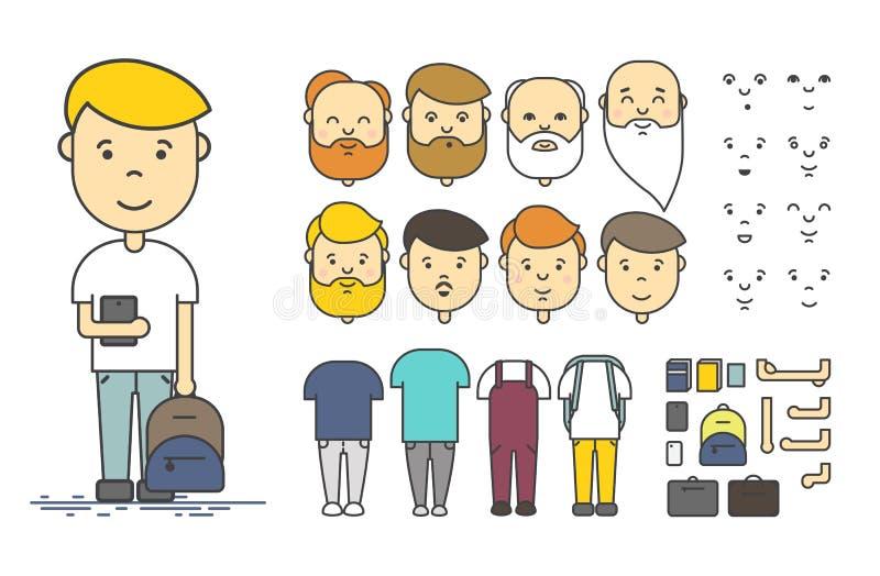 Sistema de la creación del carácter del hombre ilustración del vector