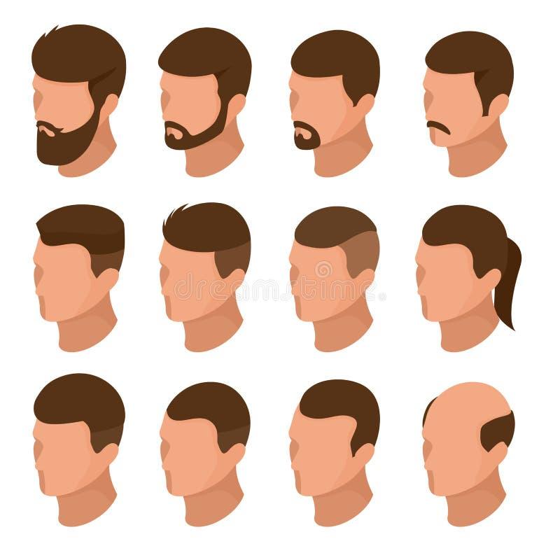Sistema de la creación del carácter del hombre de negocios isométrico o de la persona masculina Colección de peinados del ` s de  ilustración del vector