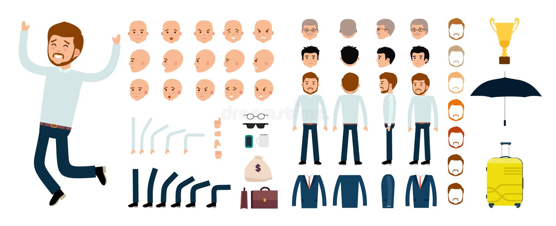 Sistema de la creación del carácter del hombre El vendedor, el hombre de negocios, jefe stock de ilustración