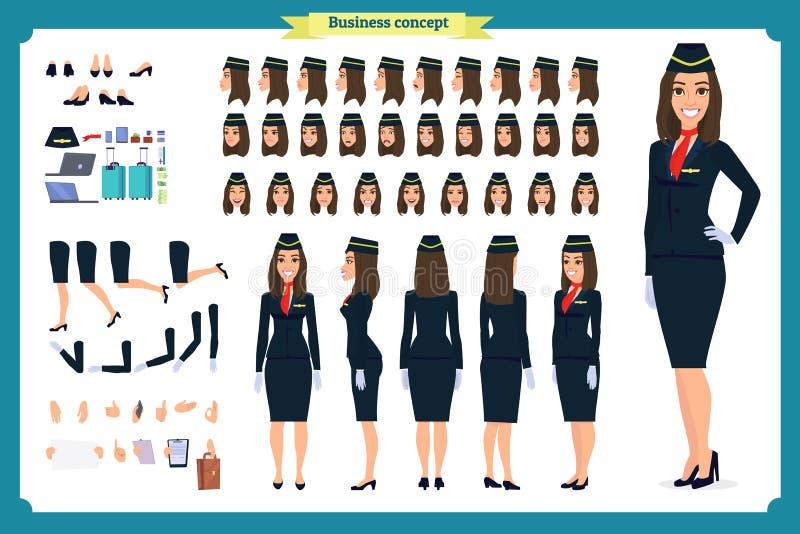 Sistema de la creación del carácter de la mujer La azafata, asistente de vuelo  libre illustration