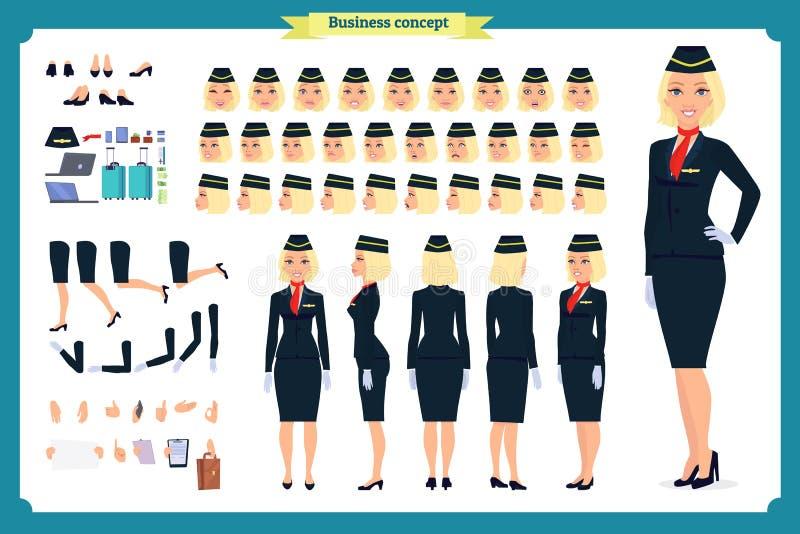 Sistema de la creación del carácter de la mujer La azafata, asistente de vuelo  stock de ilustración