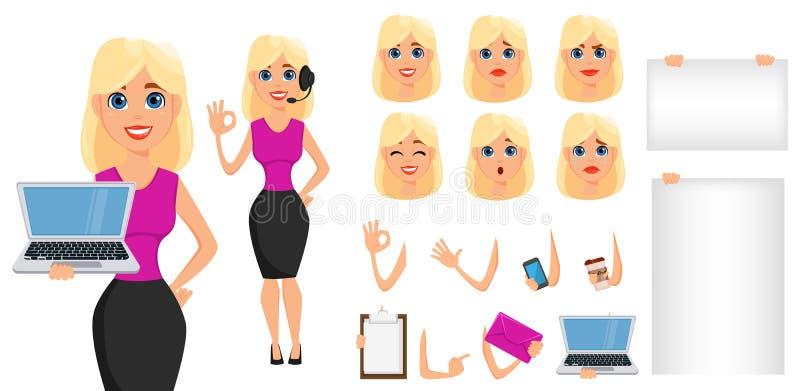 Sistema de la creación del personaje de dibujos animados de la mujer de negocios Busin rubio lindo stock de ilustración