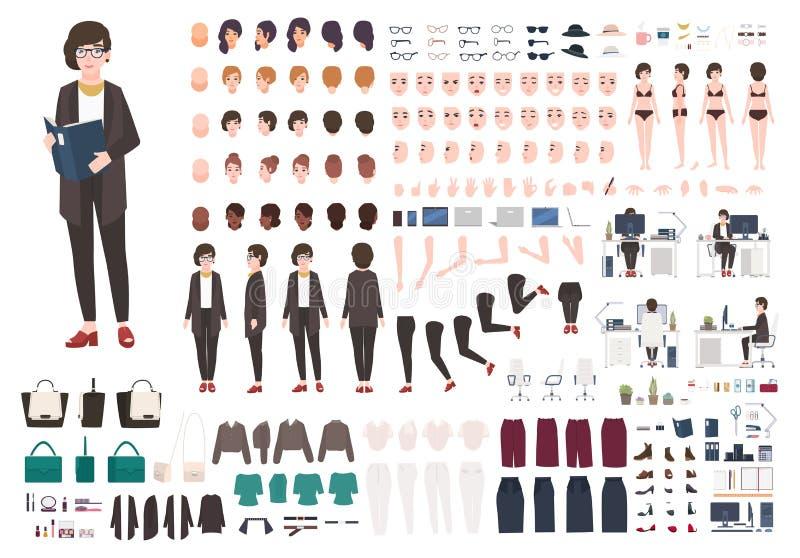 Sistema de la creación de la mujer de la secretaria o equipo de DIY Colección de personaje de dibujos animados femenino ilustración del vector