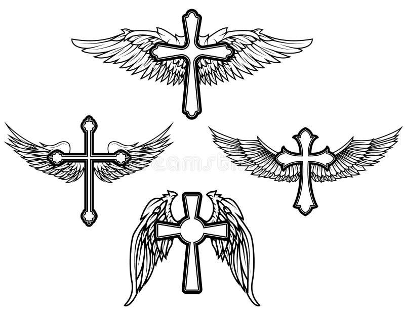 Sistema de la cruz con las alas stock de ilustración