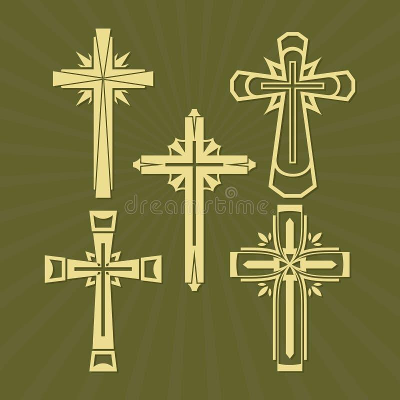 Sistema de la cruz del vector, colección de elementos del diseño para crear logotipos ilustración del vector
