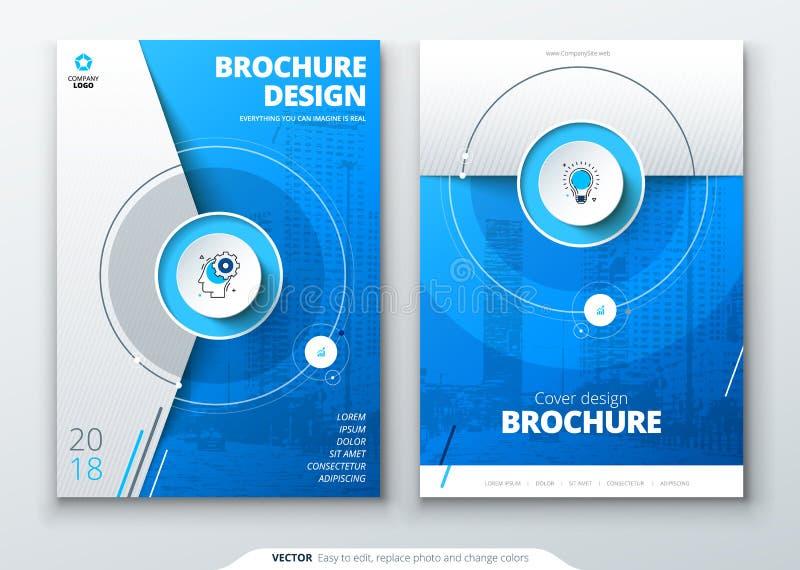 Sistema de la cubierta Plantilla azul para el folleto, la bandera, el plackard, el cartel, el informe, el catálogo, la revista, e libre illustration